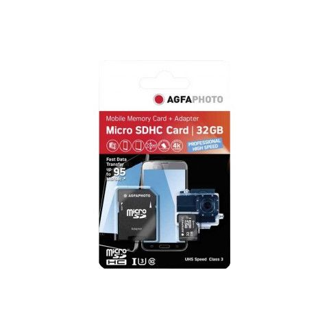 AgfaPhoto High Speed 32GB MicroSD Card with SD Adapter