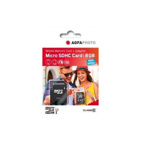 AgfaPhoto High Speed 8GB MicroSD Card with SD Adapter