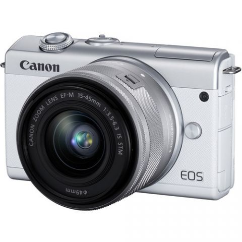 Canon EOS M200 Mirrorless Digital Camera (White) with 15-45mm & 55-200mm Lenses - FREE UK DELIVERY